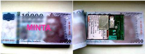A preparátum a megfelelően előkészített bankjegykötegben van elhelyezve.
